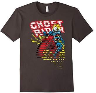 Marvel Ghost Rider Motorcyle On Fire Halftoned Split-Up T-Shirt