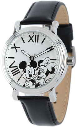 DISNEY Disney Mickey Mouse and Minnie Mouse Womens Black Leather Strap Watch $49.99 thestylecure.com