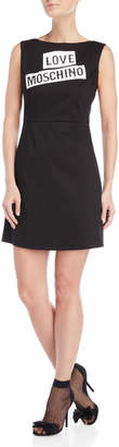 Love Moschino Black Graphic Logo Sheath Dress