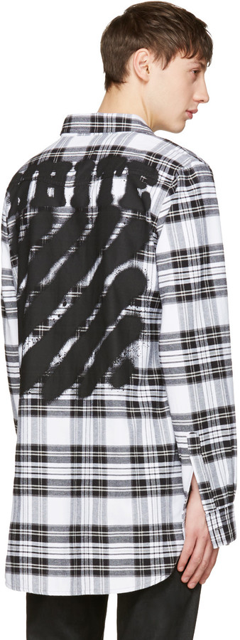 Off-White White Check Diagonal Spray Shirt 3