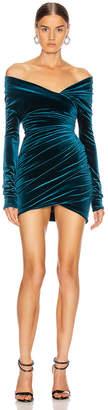 Alexandre Vauthier Off the Shoulder Ruched Mini Dress in Cobalt | FWRD