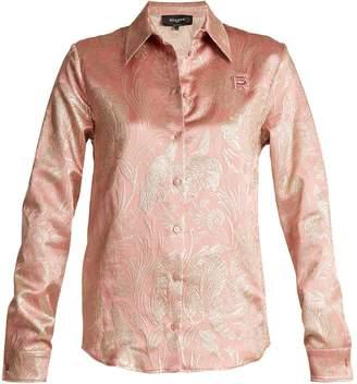 Rochas Point-collar floral-jacquard silk-blend shirt