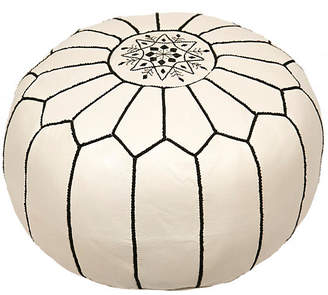 One Kings Lane Embroidered Leather Pouf - White/Black