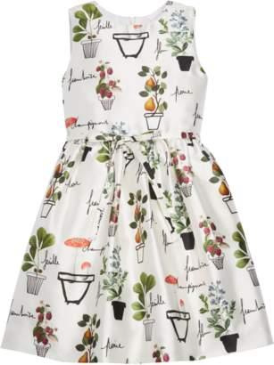 Oscar de la Renta Flower Pots Mikado Dress With Pleated Skirt