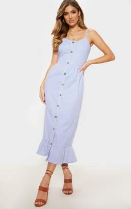 b8ace8f84c1 PrettyLittleThing Dusty Blue Stripe Wooden Button Frill Midi Dress