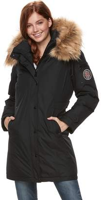 Steve Madden Nyc Juniors' NYC Taslon Faux-Fur Hooded Parka Jacket