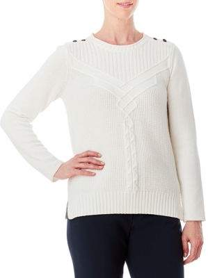 Olsen Button-Shoulder Cable Pullover