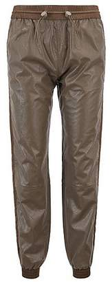 HUGO BOSS Regular-fit faux-leather jogging trousers with cuffed hems