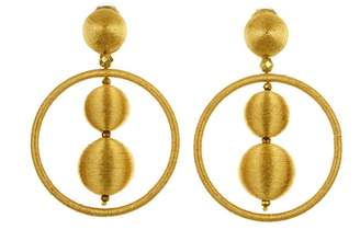 Oscar de la Renta Gold Threaded Bead Hoop Earrings