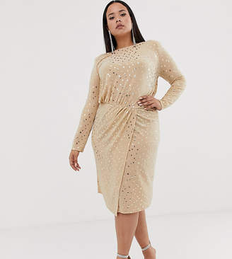 Flounce London Plus wrap front midi dress with statement shoulder in gold metallic