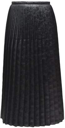 Marni Pleated Floral Embossed Faux Leather Midi Skirt - Womens - Black
