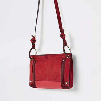 River Island Red leather metal hoop cross body bag