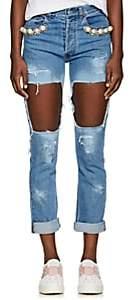 Forte Women's Embellished Distressed Skinny Jeans - Md. Blue Size 27