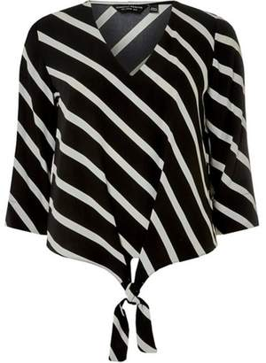 584bb00942b Dorothy Perkins Womens Black Monochrome Striped T-Shirt