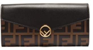 Fendi F Is Continental Leather Wallet - Womens - Black Brown