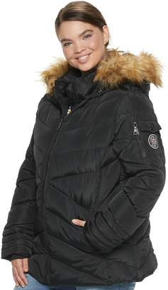 Steve Madden Nyc NYC Juniors' Plus Size Short Puffer Jacket