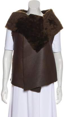 Elizabeth and James Leather Fur Trimmed Vest