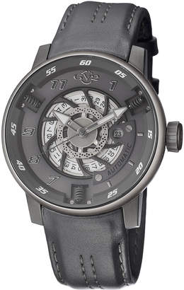 Gv2 Men's Automatic-Self-Wind Motorcycle Sport Grey Leather Strap Watch