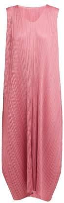 Pleats Please Issey Miyake Pleated Trapeze Cut Midi Dress - Womens - Pink