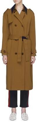Victoria Beckham VICTORIA, Contrast collar belted trench coat