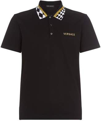 Versace Check Collar Polo Shirt