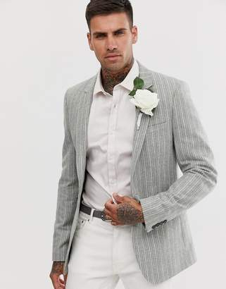Asos Design DESIGN wedding skinny blazer in green wool mix with stripe