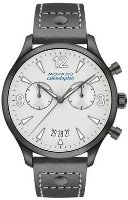 Movado Heritage Calendoplan Chronograph Leather Strap Watch, 38mm