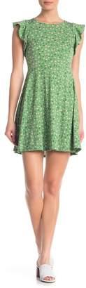 Love, Fire Floral Ruffle Cap Sleeve Dress