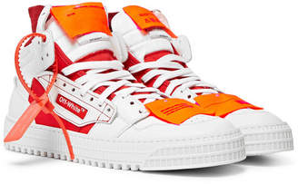 Off-White Off White 3.0 Off-Court Leather, Canvas and Shell High-Top Sneakers - White