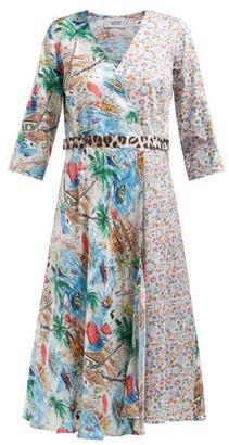La Prestic Ouiston Square Silk And Cotton Wrap Dress - Womens - Multi
