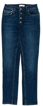 Anine Bing Mid-Rise Straight Leg Jeans