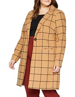 New Look Curves Women's Window Grid Check Coat,(Size:)