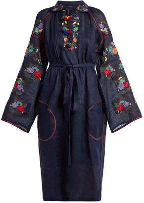 VITA KIN Press Flower embroidered lightweight linen dress