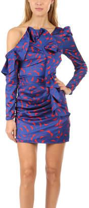 Self-Portrait Printed Ruffle Mini Dress