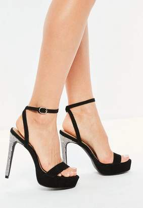 Missguided Black Diamante Platform Heeled Sandals
