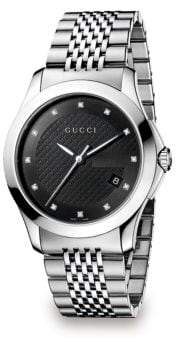 Gucci G-Timeless Diamond and Stainless Steel Bracelet Watch