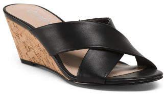 Cork Bottom Cross Strap Low Wedge Sandals