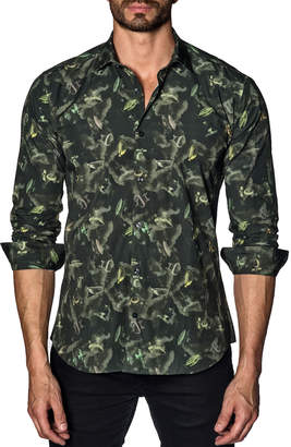 Jared Lang Men's Semi-Fitted Army-Print Sport Shirt