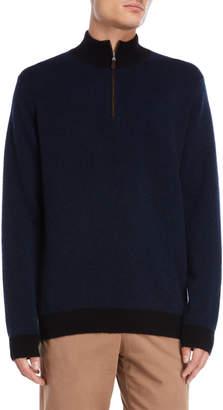 Forte Cashmere Mock Neck Zip Cashmere Sweater