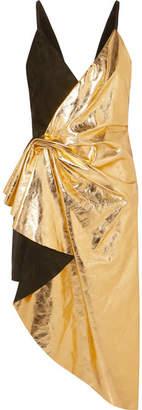 Gucci Asymmetric Suede And Metallic Leather Mini Dress - Black