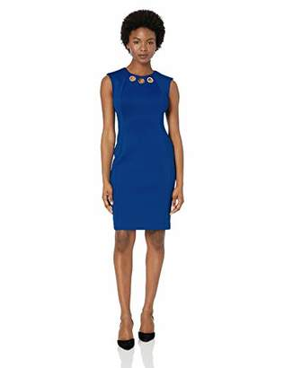 Calvin Klein Women's Petite Sleeveless Sheath with Gold Ring Cut Out Dress