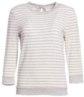 Majestic Filatures French Terry Button-Back Striped Tee