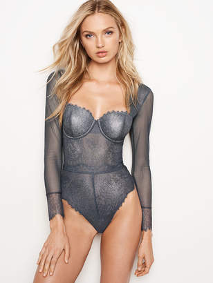 Victoria's Secret Dream Angels Chantilly Lace Long-sleeve Teddy