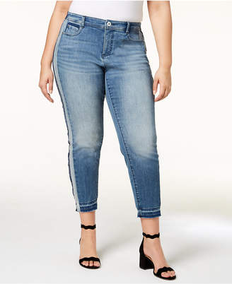 INC International Concepts I.n.c. Plus Size Side-Stripe Skinny Jeans, Created for Macy's