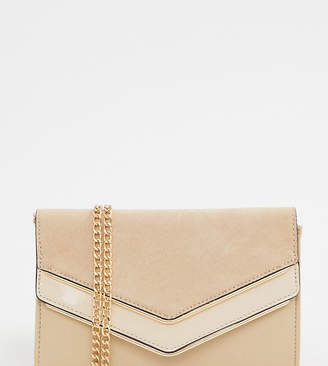 94ce0667d60 Aldo Melitoirpino beige clutch bag with gold v bar detail