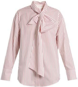 MSGM Striped tie-neck cotton shirt