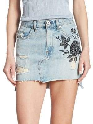 Rag & Bone Dive High-Waist Embroidered Denim Skirt