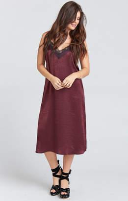 MUMU Sarai Slip Dress ~ Wine Sheen