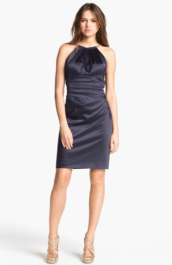 Eliza J Pleated Satin Sheath Dress
