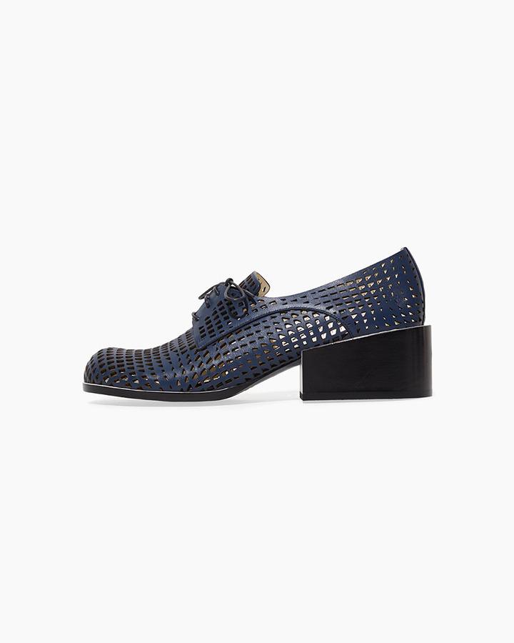 Jil Sander laser cut heeled oxford